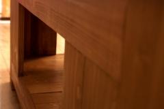 Table basse 100% récup, palettes récupérées, finition vernis chêne doré.